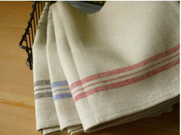 tea towel linen lt red stripe
